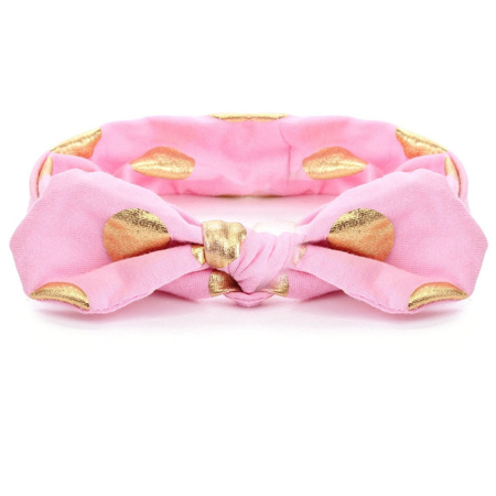 Picture of Elastic Headband With A Golden Dot Print Pink