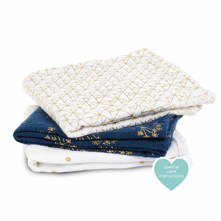 Picture of Aden+Anais® Muslin Squares 3-Pack Metalic Gold Deco (70x70)