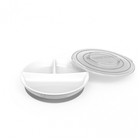 Picture of Twistshake Divided Plate 210ml +2x90ml (6+M) - White