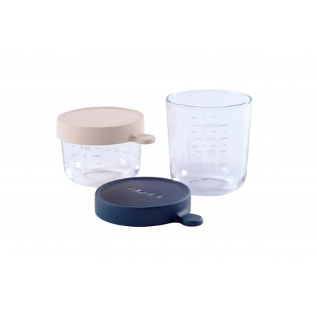 Picture of Beaba® Glass&Silicone Containers 2-Set Pink/Dark Blue