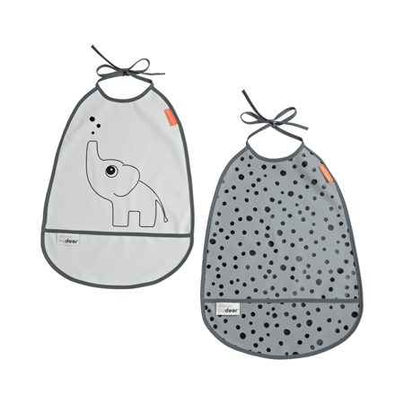 Picture of Done by Deer®  Bib 2-Pack Elphee Grey Tones