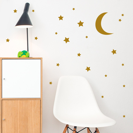 Picture of Pick Art Design® Wall Sticker Golden Moon&Stars