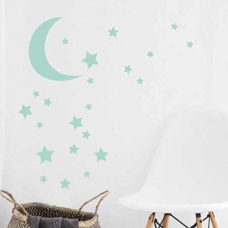 Picture of Pick Art Design® Wall Sticker Mint Moon&stars
