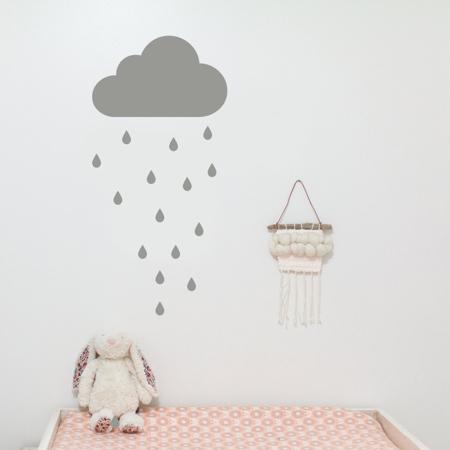 Picture of Pick Art Design® Stenska nalepka Siv oblaček in dežne kapljice