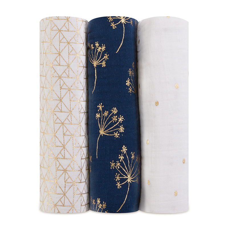 Picture of Aden+Anais® Silky Soft Swaddles 3-pack Metallic Gold Deco 120x120