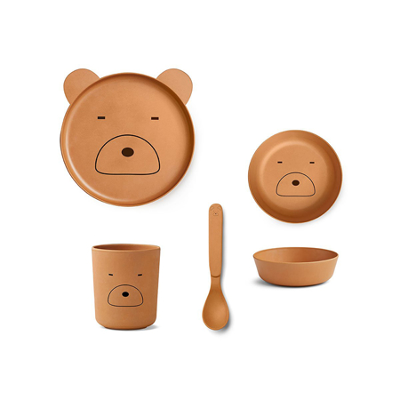Picture of Liewood® Bamboo Tableware Box Set - Mr Bear Mustard