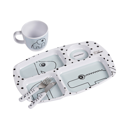 Picture of Done by Deer® Toddler Dinner Set Happy Dots Blue