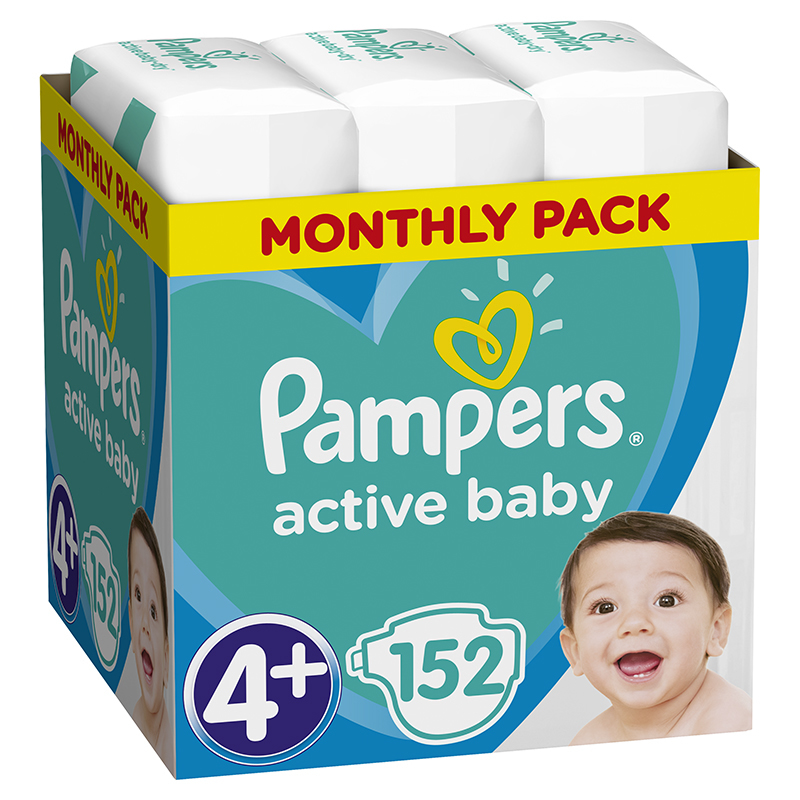 Picture of Pampers® Diapers Active Baby Dry Size 4+ (10-15kg) 152 Pcs.