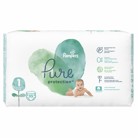 Picture of Pampers® Diapers Pure Protection Size 1 (2-5 kg) 35 Pcs.
