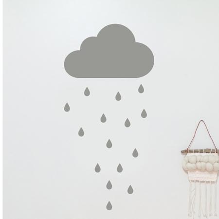 Pick Art Design® Stenska nalepka Siv oblaček in dežne kapljice