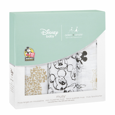 Picture of Aden+Anais® Muslin Squares 3-Pack Disney's Mickey's 90th (70x70)