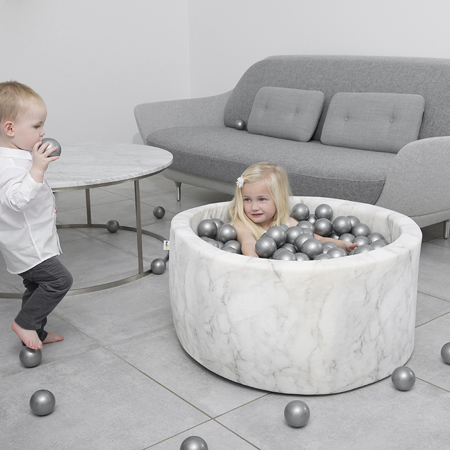 Misioo® Ball Pit With 200 Balls White Velvet Collection