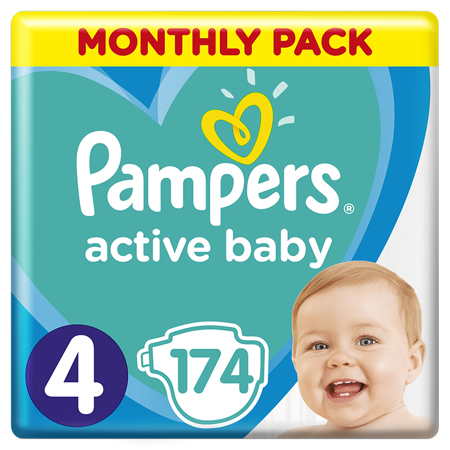 Pampers® Diapers Active Baby Dry Size 4 (9-14kg) 174 Pcs.