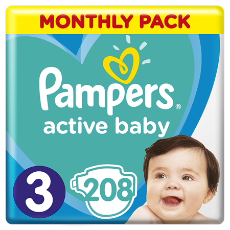 Picture of Pampers® Diapers Active Baby Dry Size 3 (6-10kg) 208 Pcs.