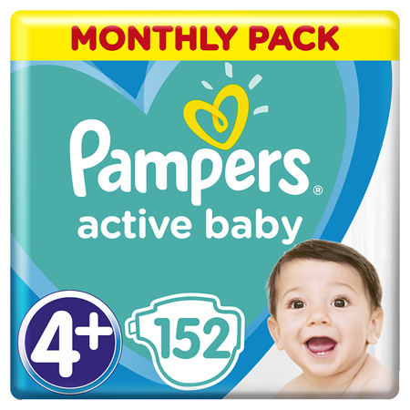 Pampers® Diapers Active Baby Dry Size 4+ (10-15kg) 152 Pcs.