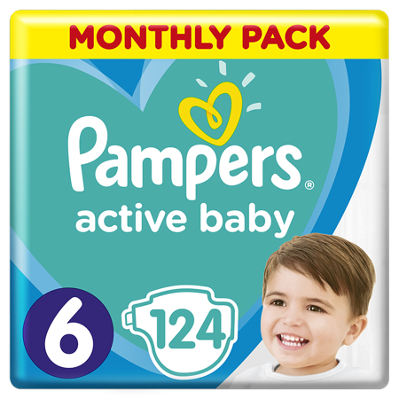 Pampers® Diapers Active Baby Dry Size 6 (13-18kg) 124 Pcs.