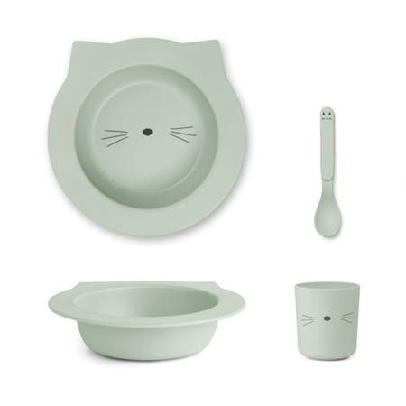 Picture of Liewood® Bamboo Baby Set - Cat Dusty Mint