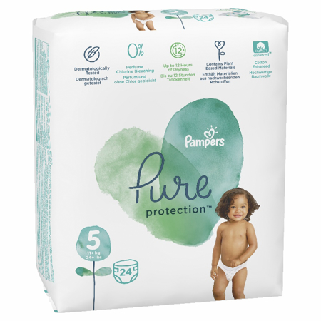 Pampers® Diapers Pure Protection Size 5 (11kg+) 24 Pcs.
