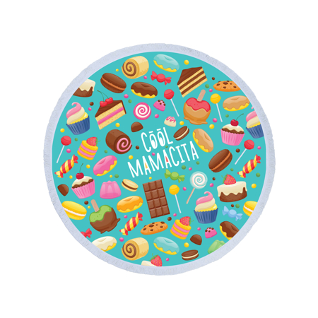 Picture of Olala Round Beach Towel - Cool Mamacita
