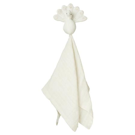 CamCam® Peacock Cuddle Cloth Creme White 26x15