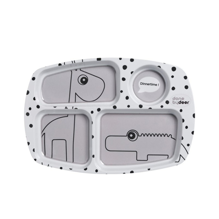 Done By Deer Divided Plate Happy Dots - Grey