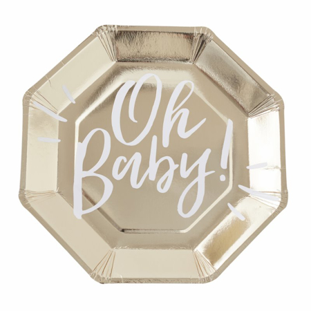 Ginger Ray® Gold foiled Baby shower paper plates Oh Baby!