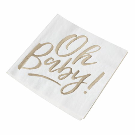 Picture of Ginger Ray® Gold Foiled Baby Shower Paper Napkins Oh Baby!