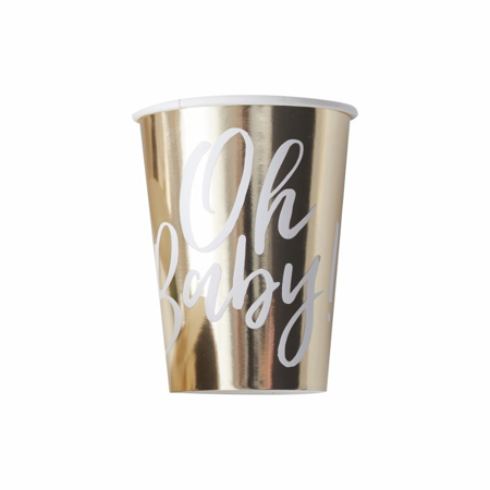 Ginger Ray® Gold Foiled Baby Shower Paper Cups Oh Baby!