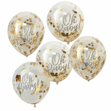 Picture of Ginger Ray® Printed Gold Confetti Balloons Oh Baby!