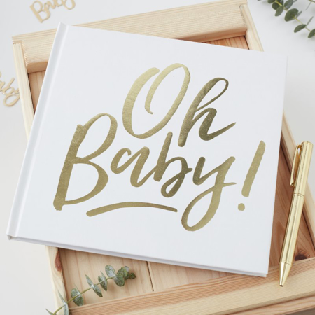 Picture of Ginger Ray® Gold Foiled Guest Book Oh Baby!