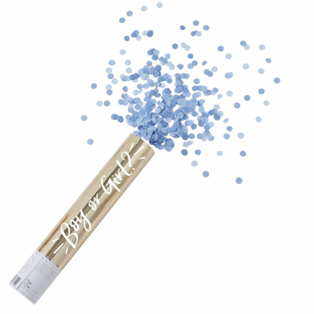 Picture of Ginger Ray® Large Gold Foiled Blue Gender Reveal Compressed Air Confetti Cannon Shooter