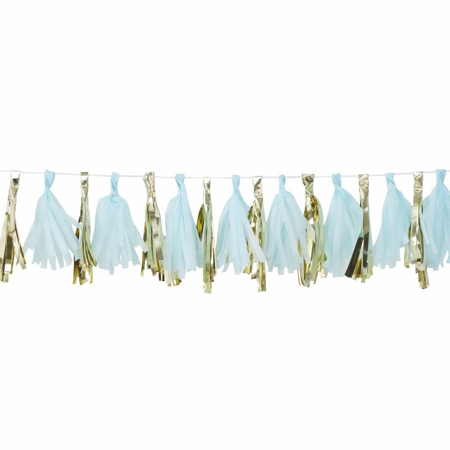 Ginger Ray® Blue And Gold Tassel Garland Oh Baby!