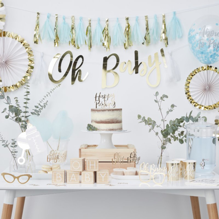 Picture of Ginger Ray® Blue And Gold Tassel Garland Oh Baby!