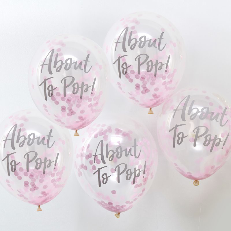 Picture of Ginger Ray® About To Pop! Printed Pink Confetti Balloons Oh Baby!