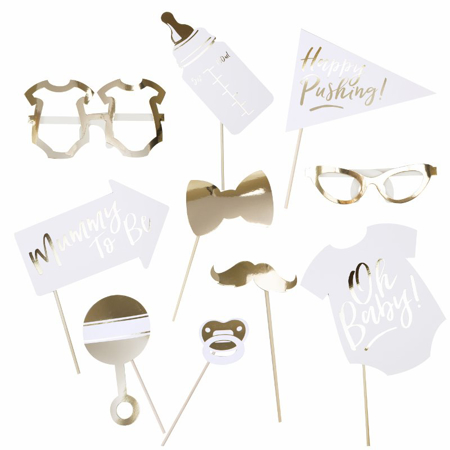 Picture of Ginger Ray® Gold Foiled Photo Booth Props Oh Baby!