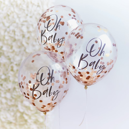 Picture of Ginger Ray® Rose Gold Oh Baby Confetti Balloons Twinkle Twinkle