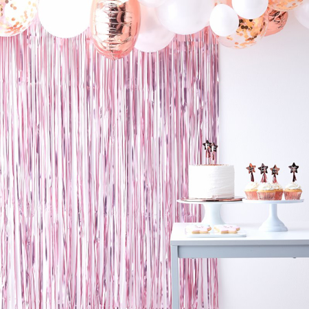 Picture of Ginger Ray® Matte Pink Curtain Backdrop Twinkle Twinkle