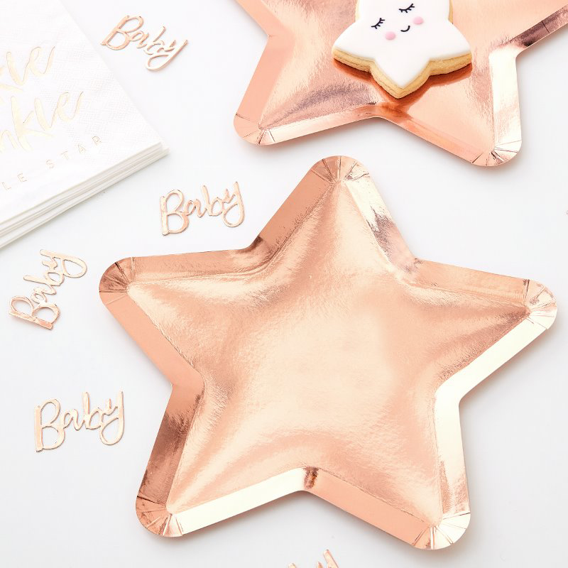 Picture of Ginger Ray® Rose Gold Star Shaped Paper Plates Twinkle Twinkle