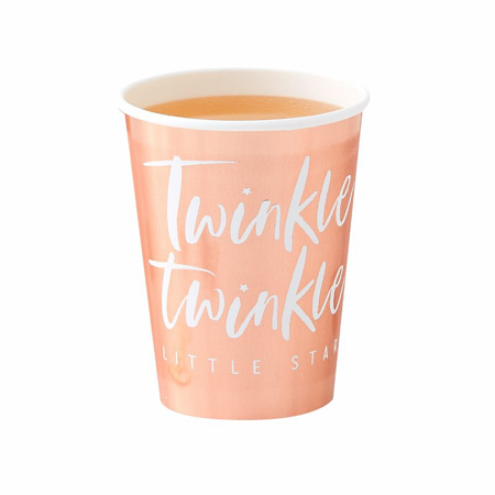 Ginger Ray® Rose Gold Foiled Paper Cups Twinkle Twinkle