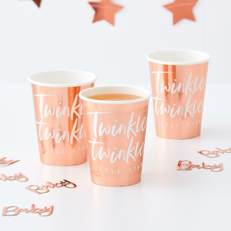 Picture of Ginger Ray® Rose Gold Foiled Paper Cups Twinkle Twinkle
