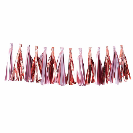 Picture of Ginger Ray® Matte Pink & Rose Gold Tassel Garland Twinkle Twinkle