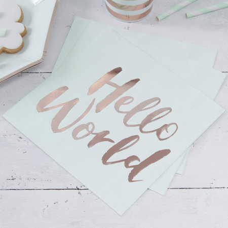 Picture of Ginger Ray® Gold Foiled Baby Shower Paper Napkins Hello World