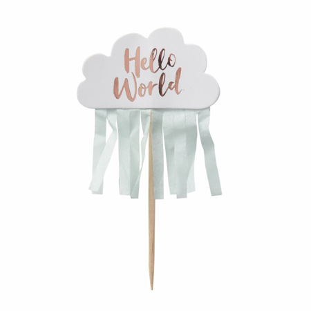 Ginger Ray® Rose Gold & Cloud Baby Shower Cupcake Toppers Hello World