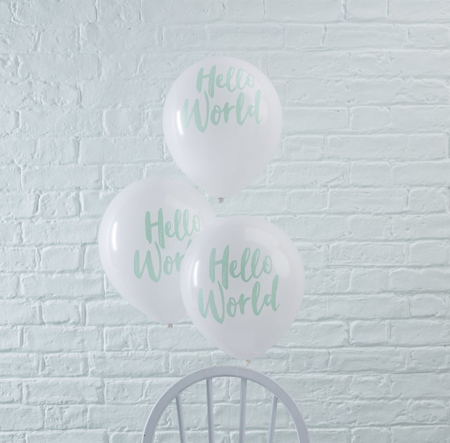 Picture of Ginger Ray® Mint Balloons Hello World