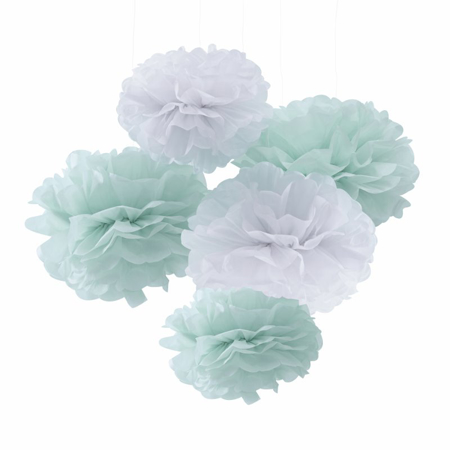 Picture of Ginger Ray® Mint & White Tissue Paper Pom Poms Hello World