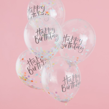 Picture of Ginger Ray® Happy Birthday Confetti Balloons Pastel Party