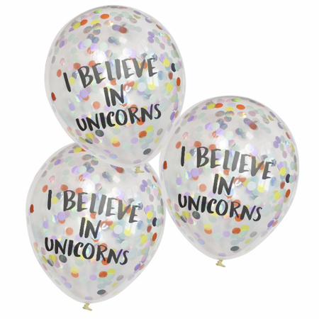 Picture of Ginger Ray® I Believe In Unicorns Confetti Balloons Pastel Party
