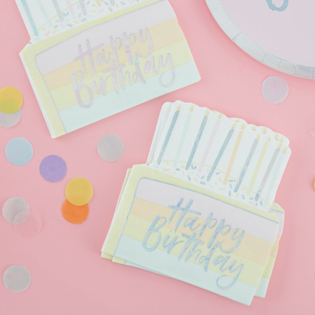 Picture of Ginger Ray® Birthday Cake Paper Napkins Pastel Party