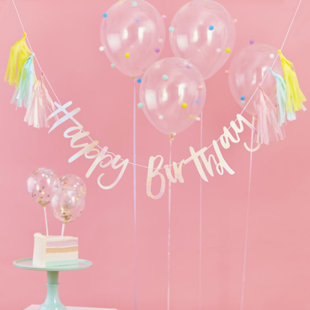 Picture of Ginger Ray® Happy Birthday Iridescent Bunting With Tassels Pastel Party