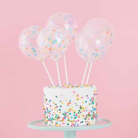 Picture of Ginger Ray® Mini Cake Topper Confetti Balloons Kit Pastel Party